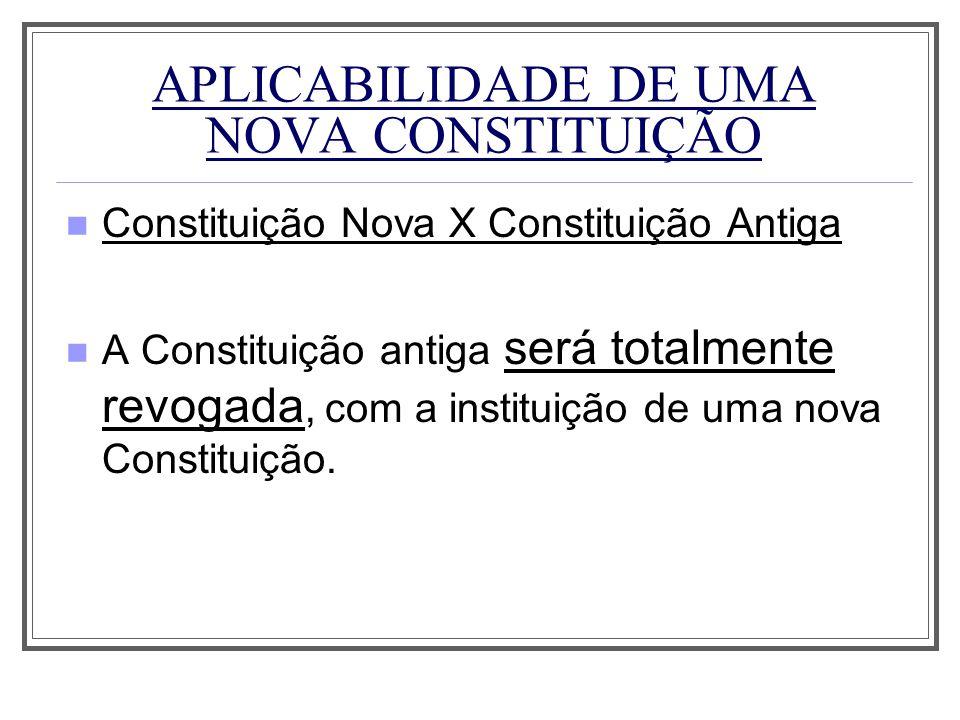 APLICABILIDADE DE UMA NOVA CONSTITUIÇÃO