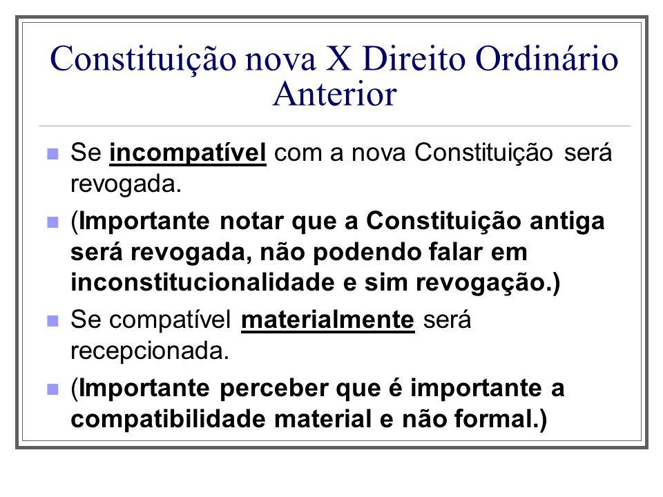 Constituição nova X Direito Ordinário Anterior