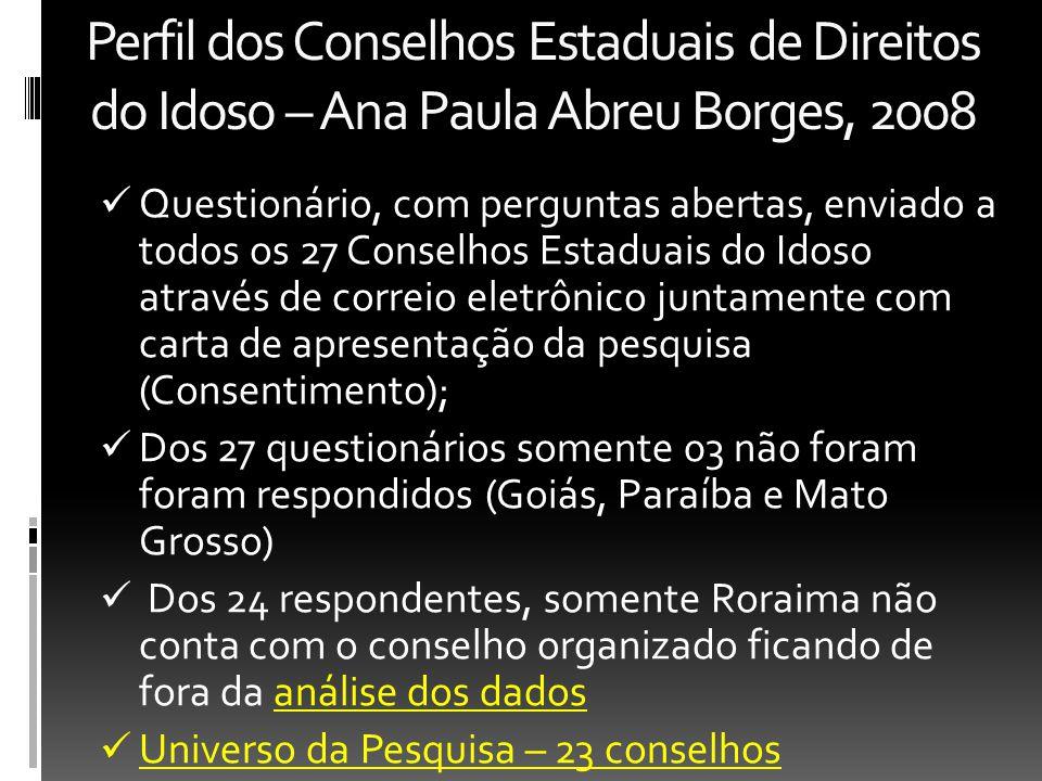 Perfil dos Conselhos Estaduais de Direitos do Idoso – Ana Paula Abreu Borges, 2008