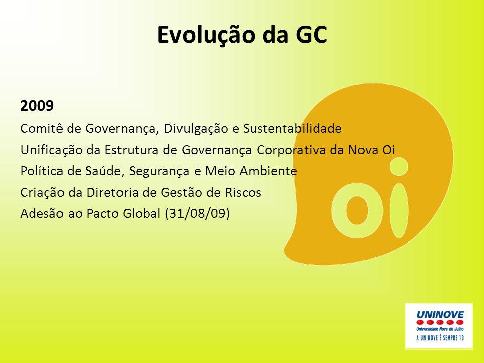 Evolução da GC 2009. Comitê de Governança, Divulgação e Sustentabilidade. Unificação da Estrutura de Governança Corporativa da Nova Oi.