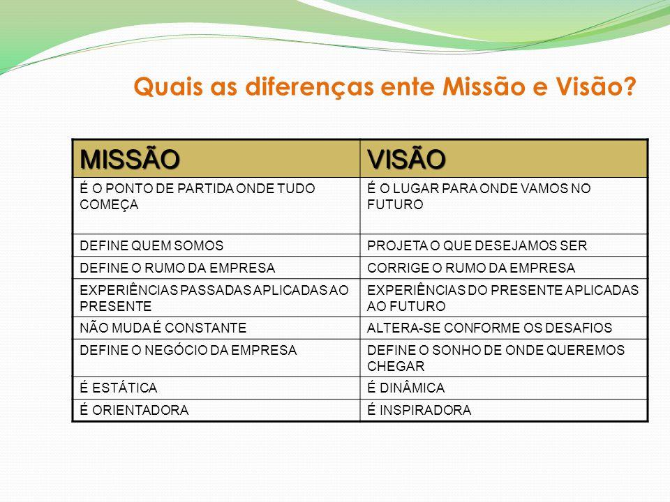 MISSÃO VISÃO Quais as diferenças ente Missão e Visão