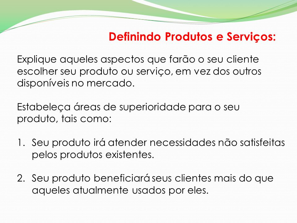 Definindo Produtos e Serviços: