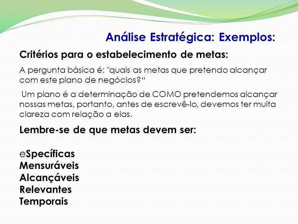 Análise Estratégica: Exemplos: