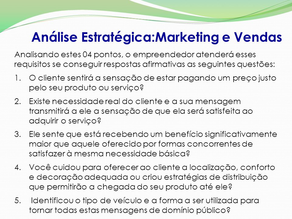 Análise Estratégica:Marketing e Vendas