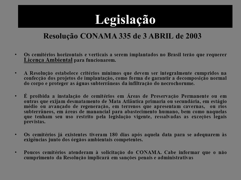 Legislação Resolução CONAMA 335 de 3 ABRIL de 2003