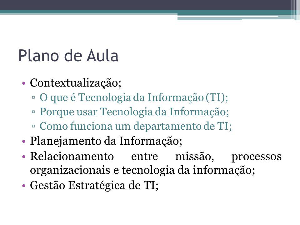 Plano de Aula Contextualização; Planejamento da Informação;