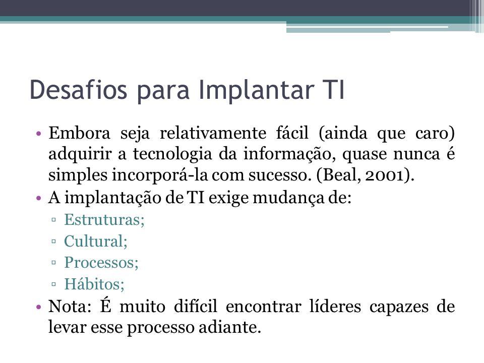 Desafios para Implantar TI
