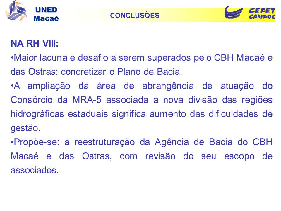 CONCLUSÕES NA RH VIII: Maior lacuna e desafio a serem superados pelo CBH Macaé e das Ostras: concretizar o Plano de Bacia.