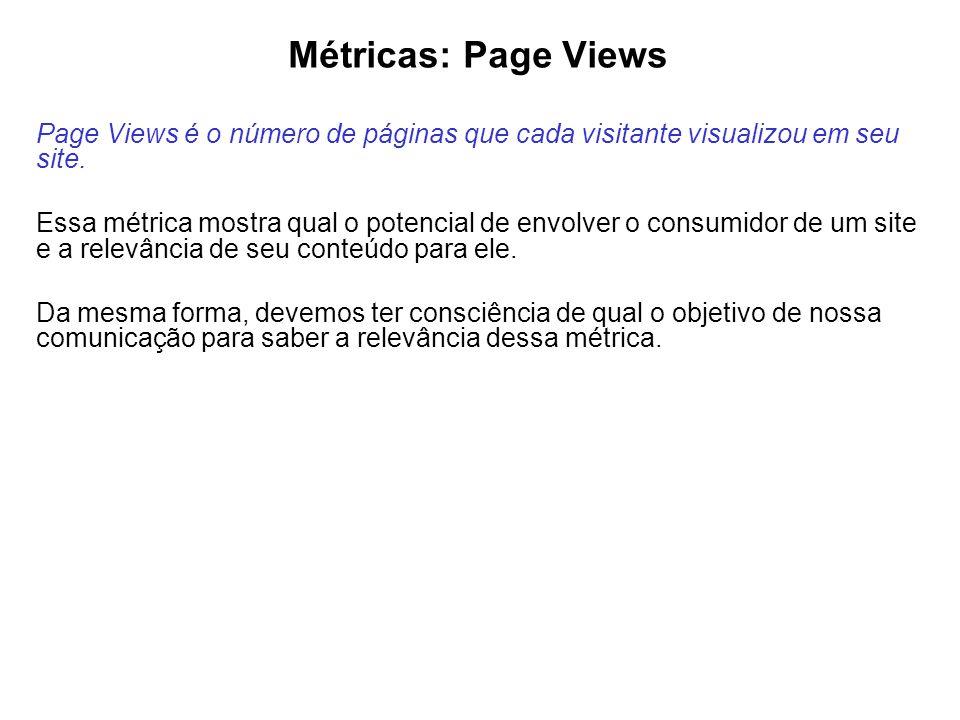 Métricas: Page Views Page Views é o número de páginas que cada visitante visualizou em seu site.