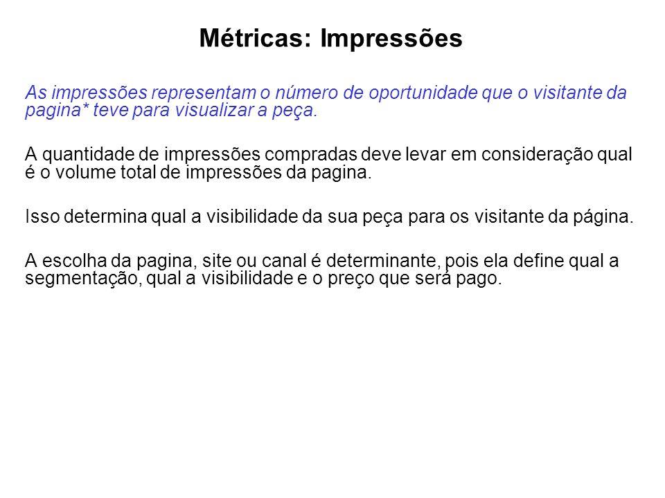 Métricas: Impressões As impressões representam o número de oportunidade que o visitante da pagina* teve para visualizar a peça.