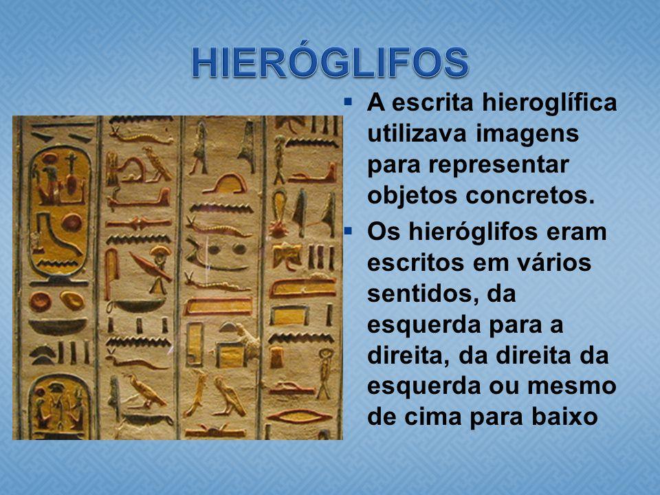 HIERÓGLIFOS A escrita hieroglífica utilizava imagens para representar objetos concretos.