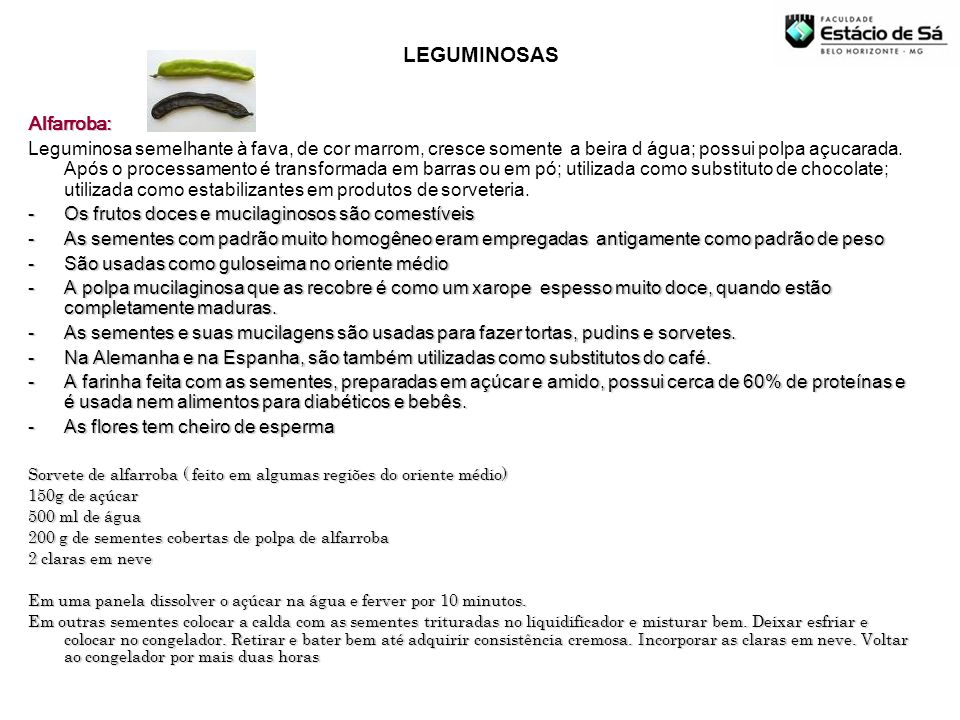 LEGUMINOSAS Alfarroba:
