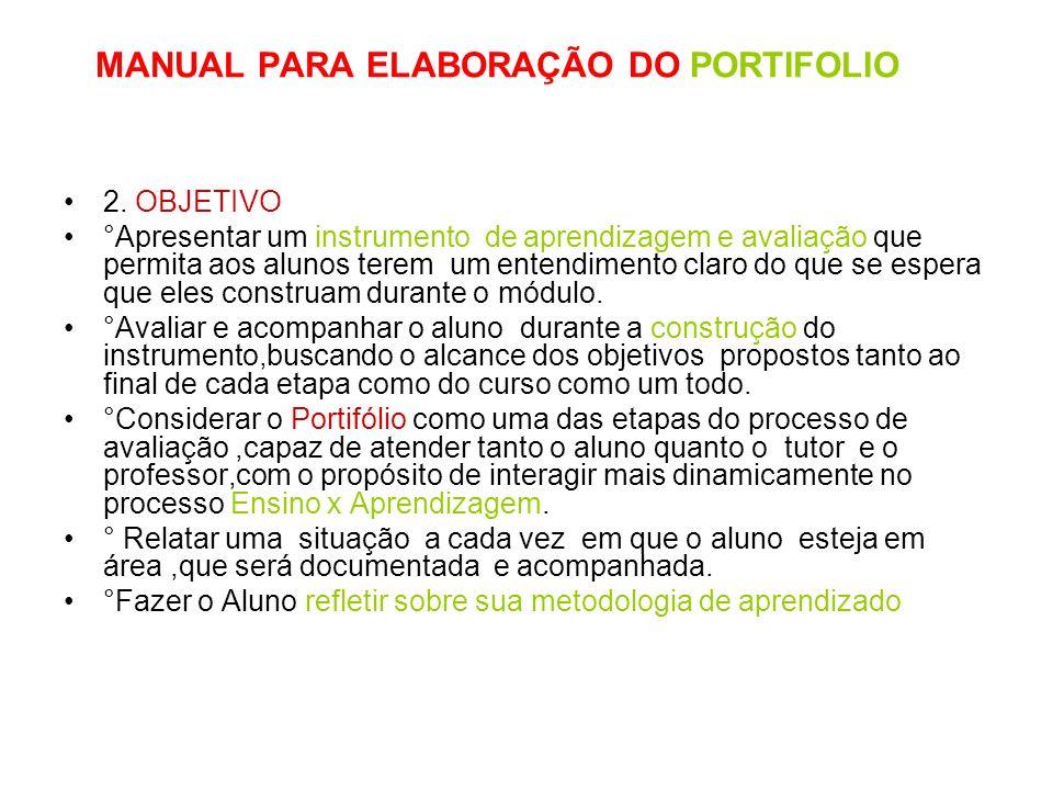 MANUAL PARA ELABORAÇÃO DO PORTIFOLIO