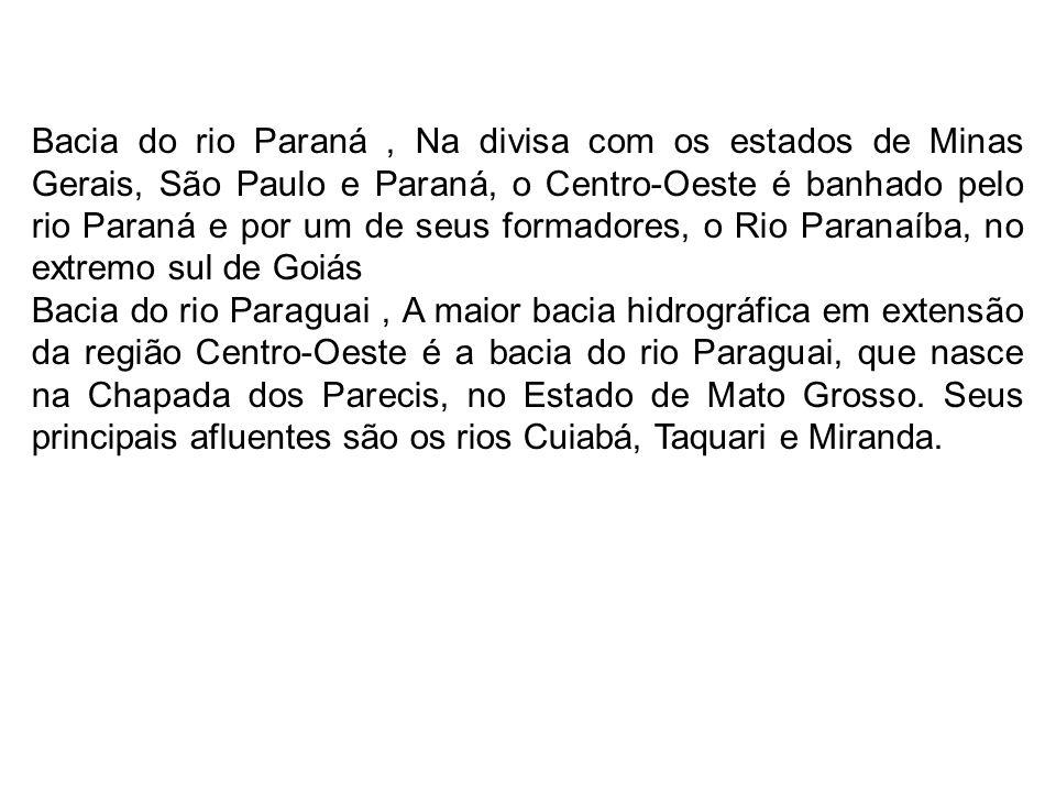 Bacia do rio Paraná , Na divisa com os estados de Minas Gerais, São Paulo e Paraná, o Centro-Oeste é banhado pelo rio Paraná e por um de seus formadores, o Rio Paranaíba, no extremo sul de Goiás