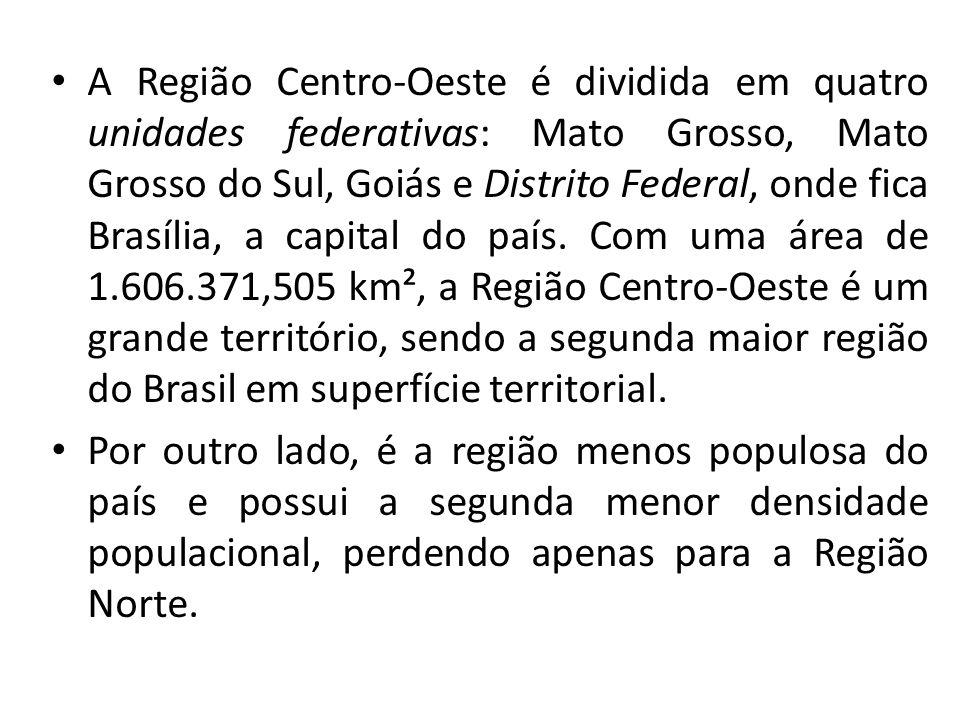 A Região Centro-Oeste é dividida em quatro unidades federativas: Mato Grosso, Mato Grosso do Sul, Goiás e Distrito Federal, onde fica Brasília, a capital do país. Com uma área de 1.606.371,505 km², a Região Centro-Oeste é um grande território, sendo a segunda maior região do Brasil em superfície territorial.