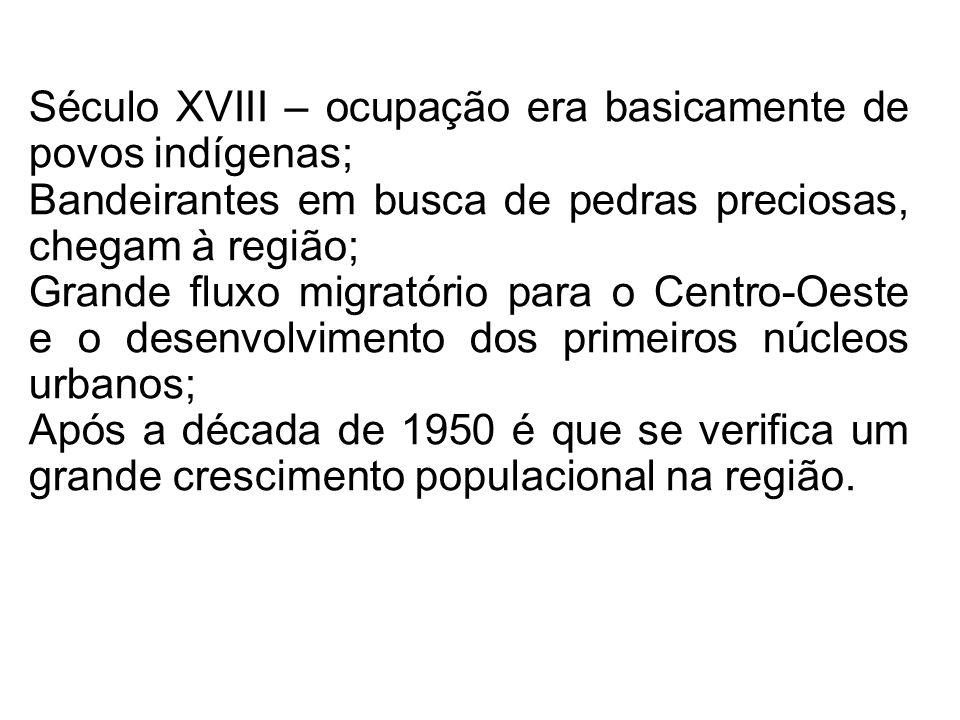 Século XVIII – ocupação era basicamente de povos indígenas;