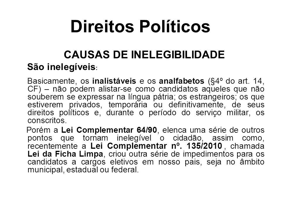 CAUSAS DE INELEGIBILIDADE