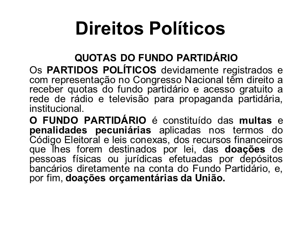 QUOTAS DO FUNDO PARTIDÁRIO
