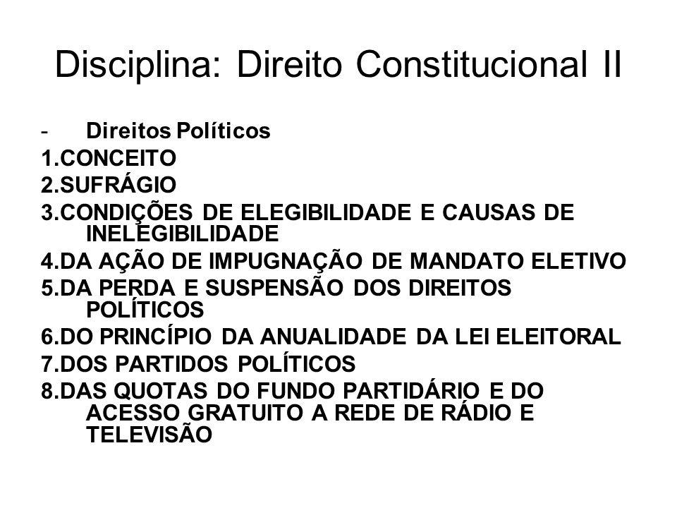 Disciplina: Direito Constitucional II