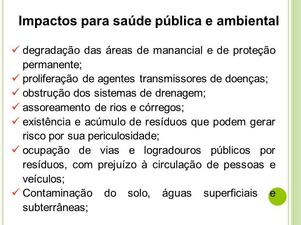 Impactos para saúde pública e ambiental