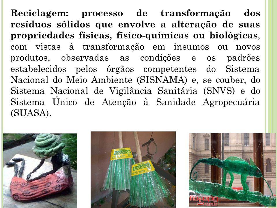 Reciclagem: processo de transformação dos resíduos sólidos que envolve a alteração de suas propriedades físicas, físico-químicas ou biológicas, com vistas à transformação em insumos ou novos produtos, observadas as condições e os padrões estabelecidos pelos órgãos competentes do Sistema Nacional do Meio Ambiente (SISNAMA) e, se couber, do Sistema Nacional de Vigilância Sanitária (SNVS) e do Sistema Único de Atenção à Sanidade Agropecuária (SUASA).