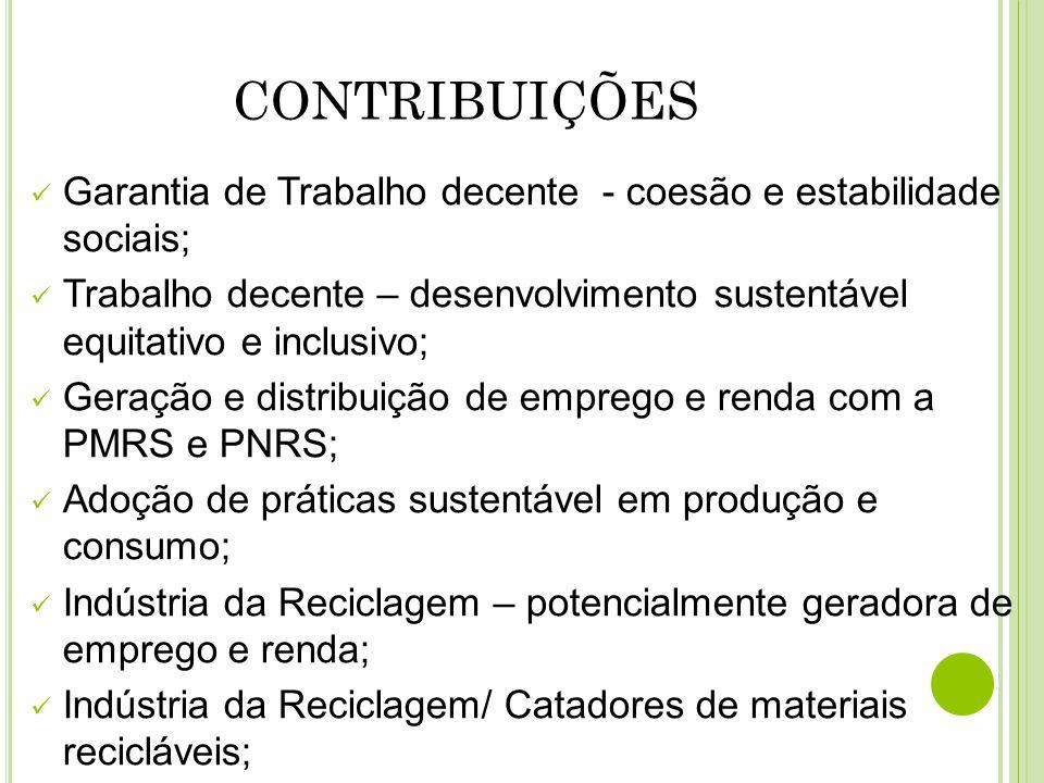 CONTRIBUIÇÕES Garantia de Trabalho decente - coesão e estabilidade sociais;