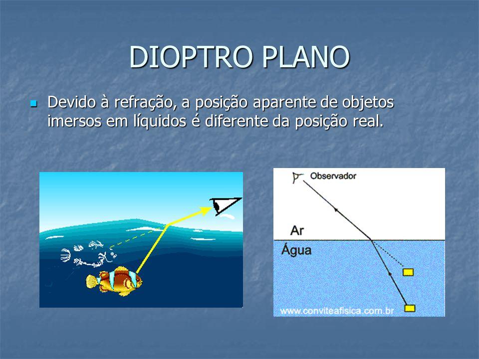 DIOPTRO PLANO Devido à refração, a posição aparente de objetos imersos em líquidos é diferente da posição real.