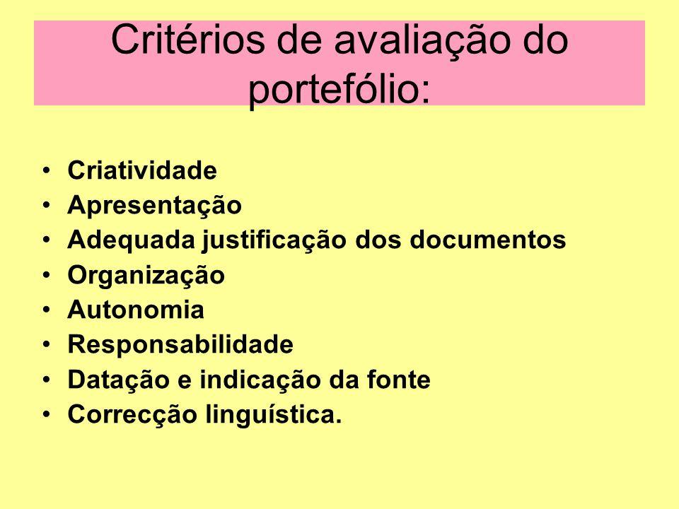Critérios de avaliação do portefólio: