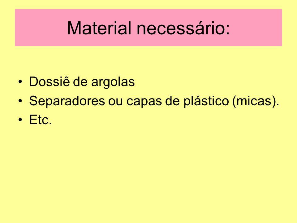 Material necessário: Dossiê de argolas