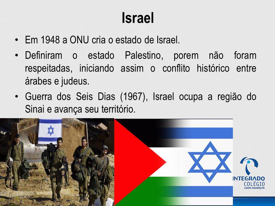 Israel Em 1948 a ONU cria o estado de Israel.