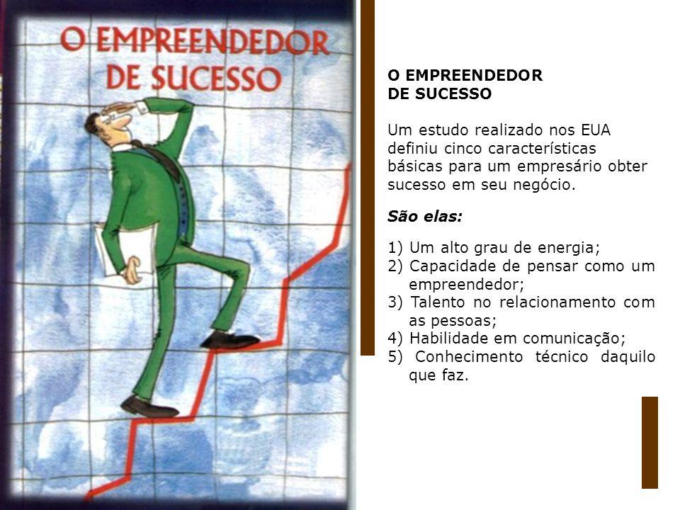 O EMPREENDEDOR DE SUCESSO. Um estudo realizado nos EUA. definiu cinco características. básicas para um empresário obter.