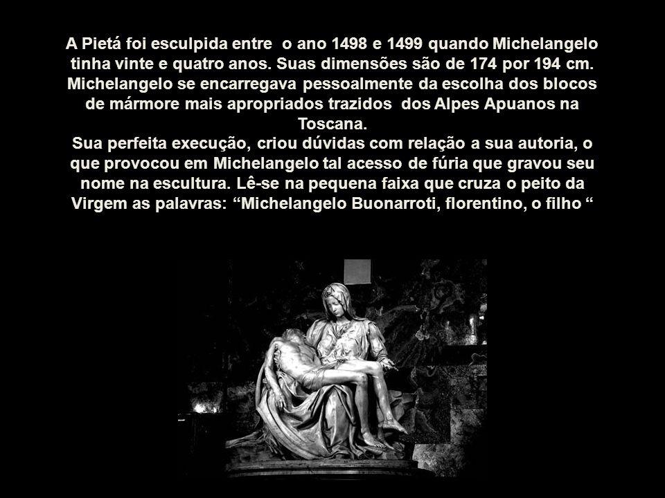 A Pietá foi esculpida entre o ano 1498 e 1499 quando Michelangelo tinha vinte e quatro anos. Suas dimensões são de 174 por 194 cm.