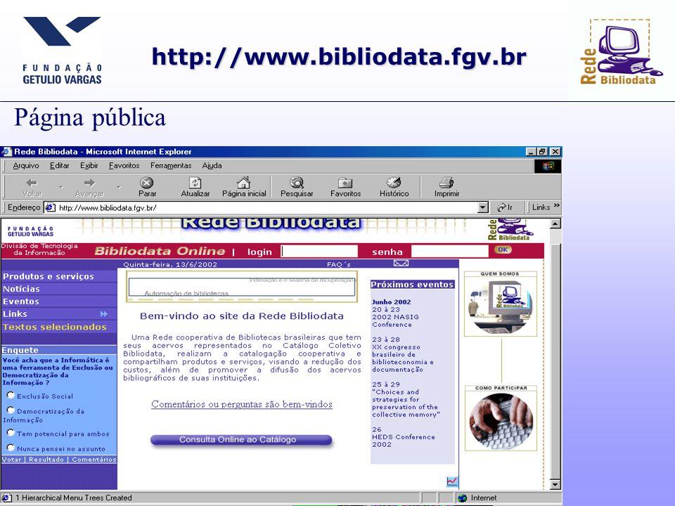 http://www.bibliodata.fgv.br Página pública
