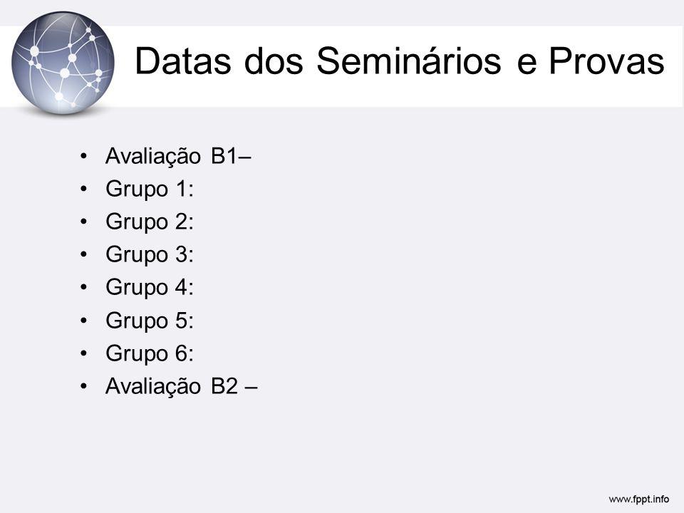 Datas dos Seminários e Provas