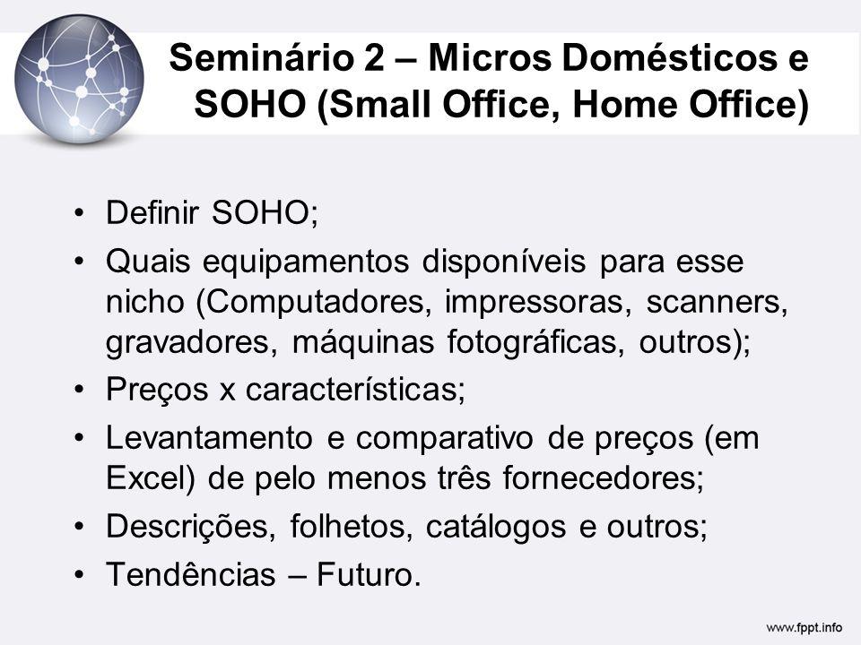 Seminário 2 – Micros Domésticos e SOHO (Small Office, Home Office)