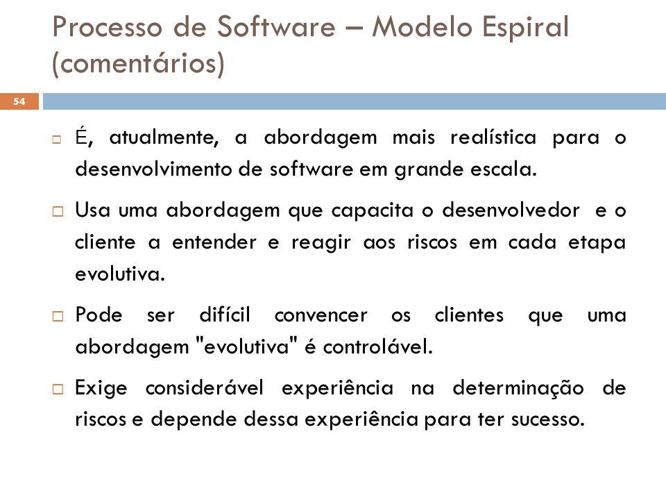 Processo de Software – Modelo Espiral (comentários)
