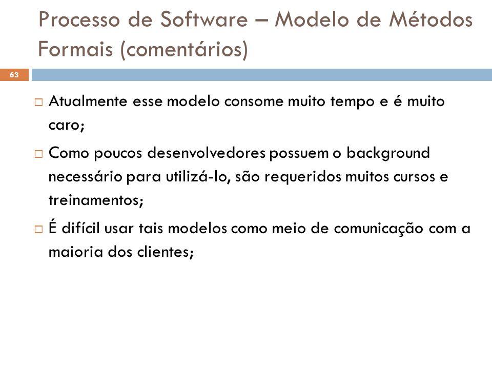 Processo de Software – Modelo de Métodos Formais (comentários)