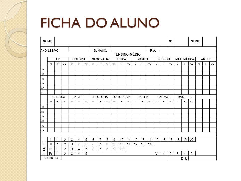 FICHA DO ALUNO ENSINO MÉDIO I 1 2 3 4 5 6 7 8 9 10 11 12 13 14 15 16