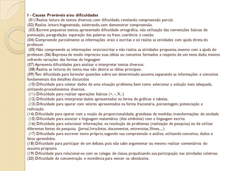 I - Causas Prováveis e/ou dificuldades (01) Realiza leitura de textos diversos, com dificuldade, revelando compreensão parcial.