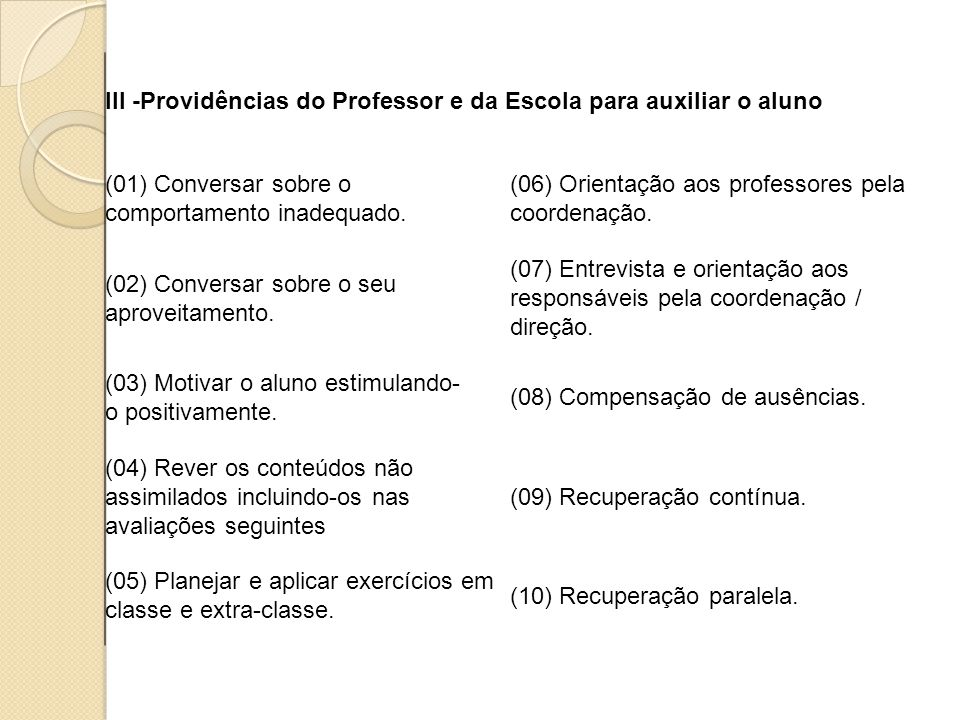 III -Providências do Professor e da Escola para auxiliar o aluno