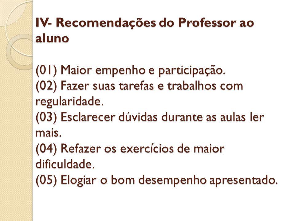 IV- Recomendações do Professor ao aluno (01) Maior empenho e participação.