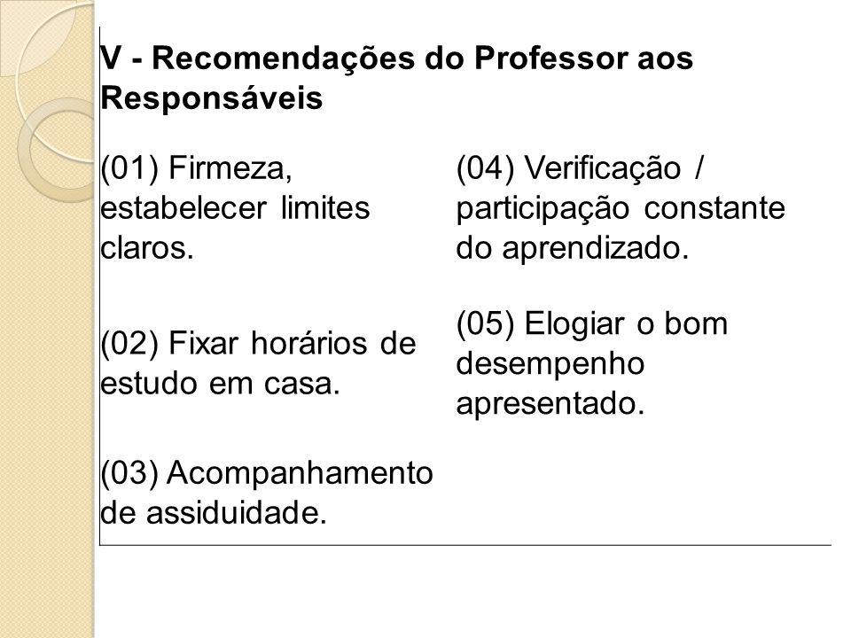 V - Recomendações do Professor aos Responsáveis