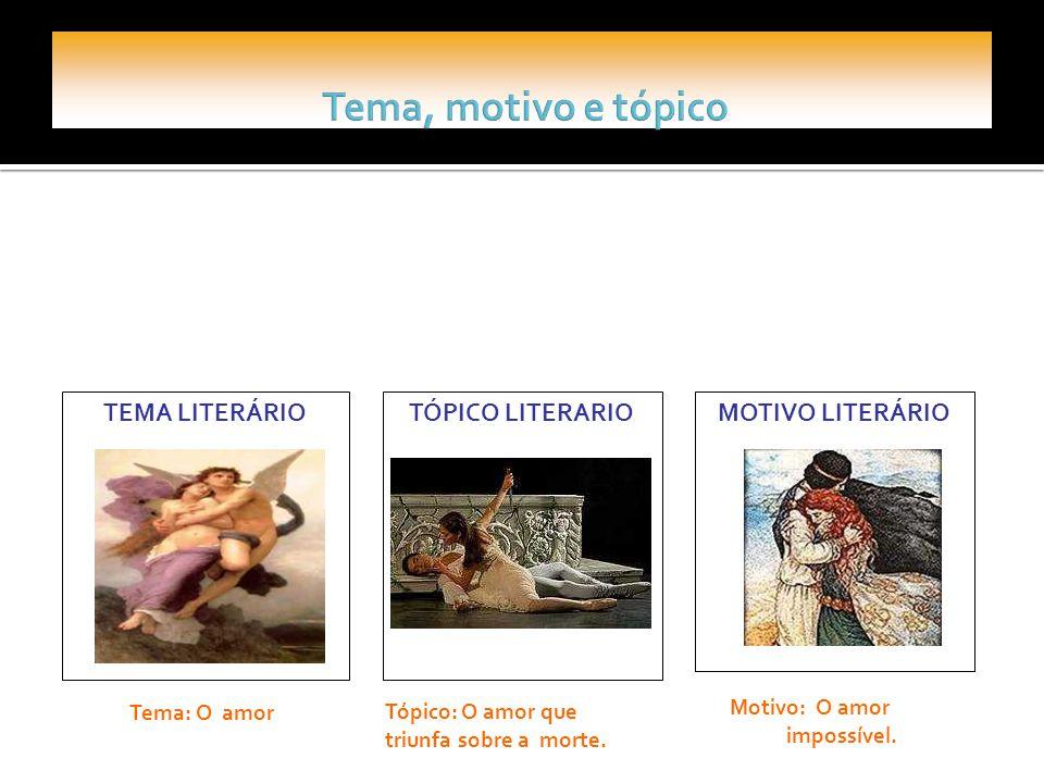 Tema, motivo e tópico TEMA LITERÁRIO TÓPICO LITERARIO MOTIVO LITERÁRIO