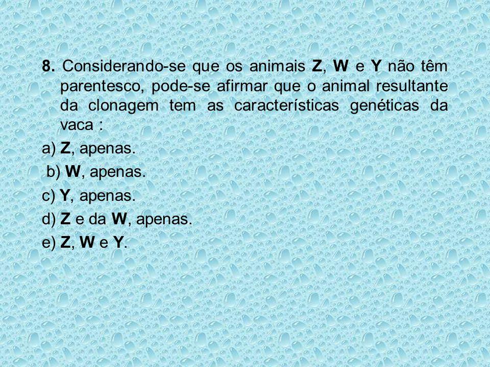 8. Considerando-se que os animais Z, W e Y não têm parentesco, pode-se afirmar que o animal resultante da clonagem tem as características genéticas da vaca :