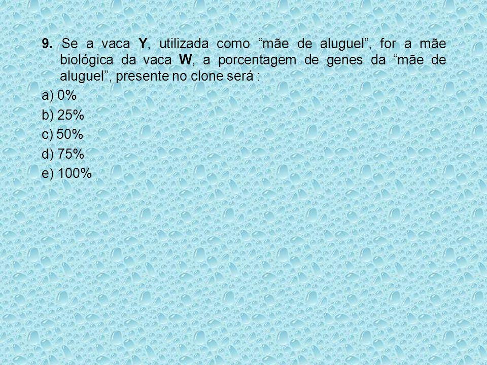 9. Se a vaca Y, utilizada como mãe de aluguel , for a mãe biológica da vaca W, a porcentagem de genes da mãe de aluguel , presente no clone será :