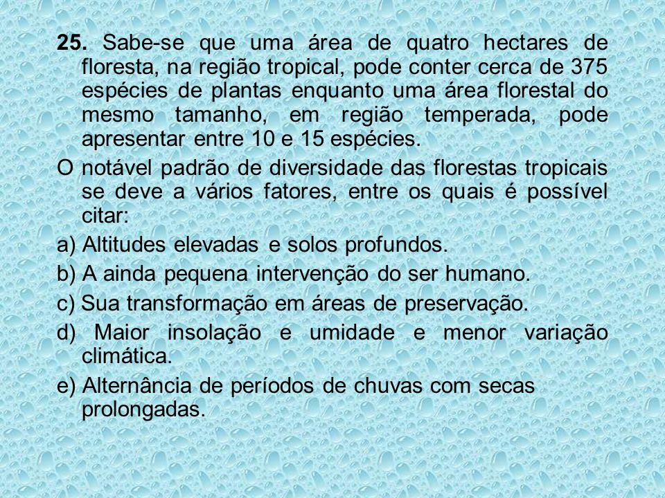 25. Sabe-se que uma área de quatro hectares de floresta, na região tropical, pode conter cerca de 375 espécies de plantas enquanto uma área florestal do mesmo tamanho, em região temperada, pode apresentar entre 10 e 15 espécies.