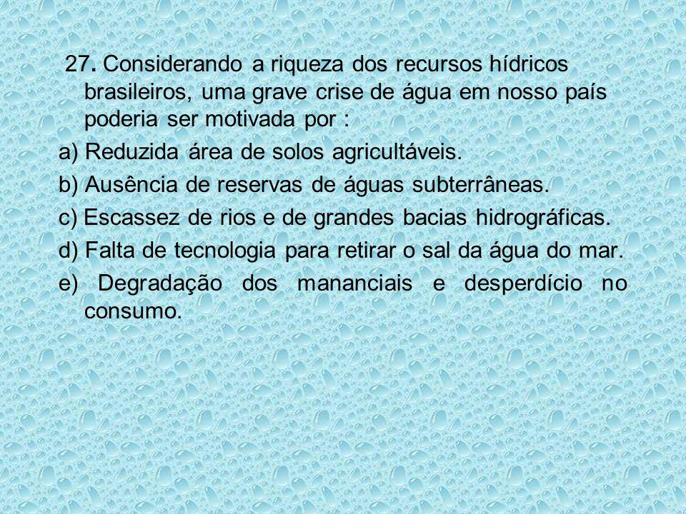 27. Considerando a riqueza dos recursos hídricos brasileiros, uma grave crise de água em nosso país poderia ser motivada por :