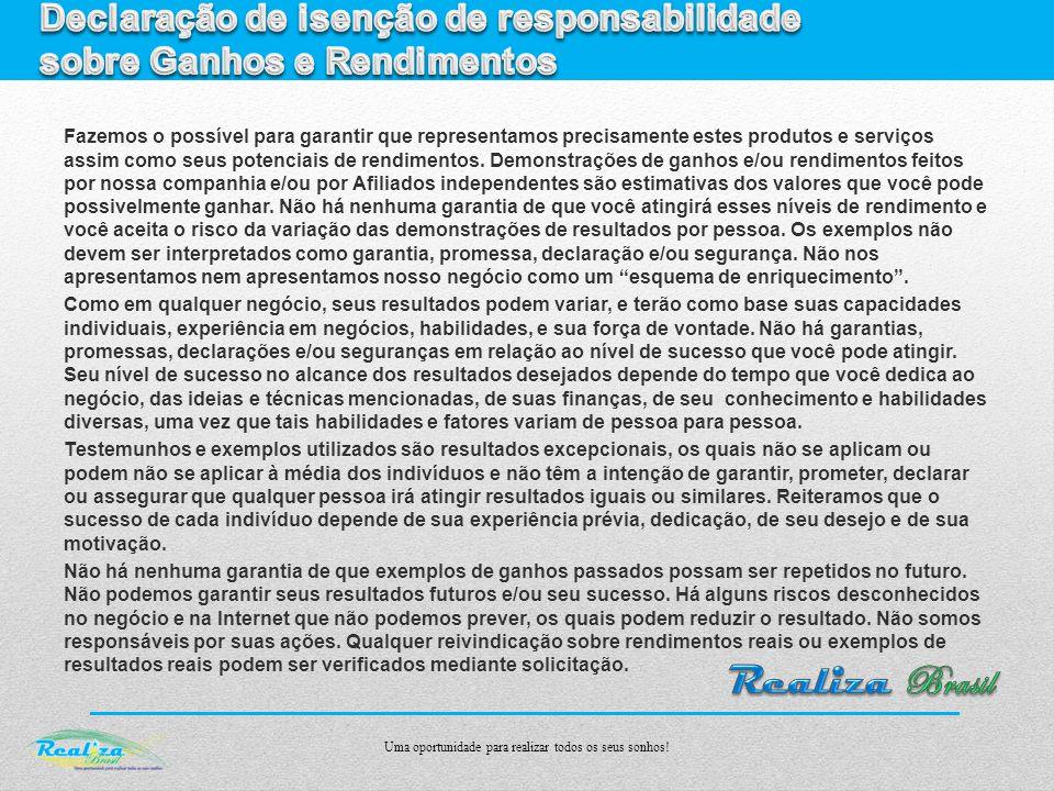 Declaração de isenção de responsabilidade sobre Ganhos e Rendimentos