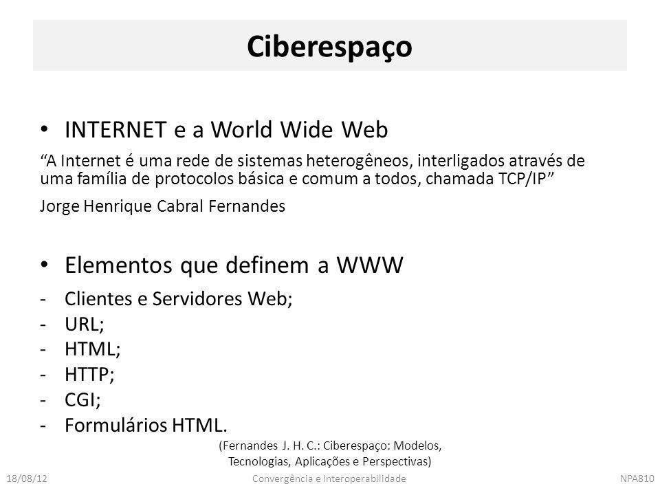 Ciberespaço INTERNET e a World Wide Web Elementos que definem a WWW