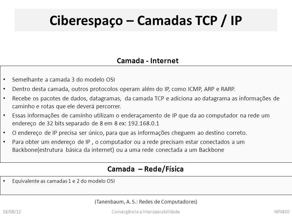 Ciberespaço – Camadas TCP / IP